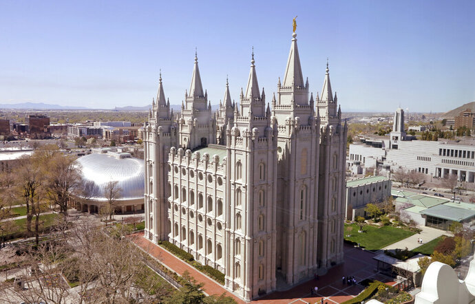 FILE - In this April 18, 2019, file photo, shows the Salt Lake Temple, in Salt Lake City. The Church of Jesus Christ of Latter-day Saints came out Monday, May 13, 2019, against a comprehensive nondiscrimination bill that faces long odds in Congress, saying the legislation doesn't