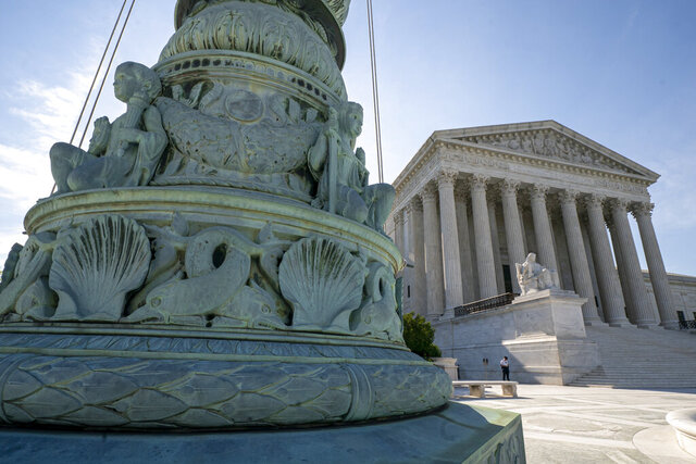 FILE - In this June 17, 2019 file photo, The Supreme Court is seen in Washington. The Supreme Court will consider Trump administration rules expanding religious, moral exemptions from contraceptive coverage.  (AP Photo/J. Scott Applewhite)