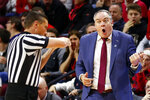 Rutgers head coach Steve Pikiell, right, reacts to a call against Rutgers during the second half of an NCAA college basketball game against Iowa, Saturday, Feb. 16, 2019, in Piscataway, N.J. (AP Photo/Adam Hunger)