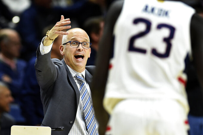 Connecticut head coach Dan Hurley reacts during the second half of an NCAA college basketball game against Sacred Heart, Friday, Nov. 8, 2019, in Storrs, Conn. (AP Photo/Stephen Dunn)