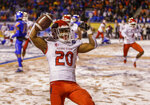 Fresno State running back Ronnie Rivers (20) celebrates a touchdown in overtime against Boise State during an NCAA college football game for the Mountain West championship Saturday, Dec. 1, 2018, in Boise, Idaho. Fresno State won 19-16. (AP Photo/Steve Conner)