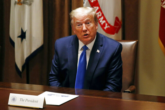 President Donald Trump meets with senior military leaders and members of his national security team in the Cabinet Room of the White House, Saturday, May 9, 2020, in Washington. (AP Photo/Patrick Semansky)