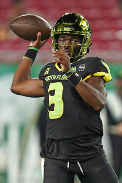 South Florida quarterback Jordan McCloud throws a pass against Tulsa during the first half of an NCAA college football game Friday, Oct. 23, 2020, in Tampa, Fla. (AP Photo/Chris O'Meara)