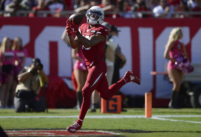 Arizona Cardinals wide receiver Christian Kirk (13) pulls in a 33-yard touchdown pass from quarterback Kyler Murray during the first half of an NFL football game against the Tampa Bay Buccaneers Sunday, Nov. 10, 2019, in Tampa, Fla. (AP Photo/Jason Behnken)