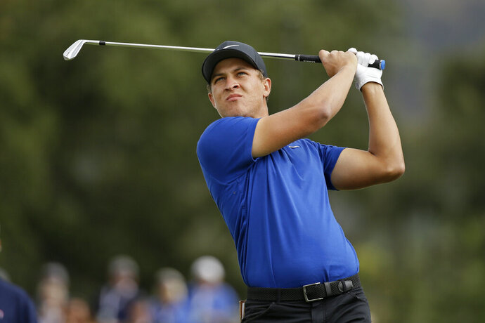 Cameron Champ follows his shot from the second tee of the Silverado Resort North Course during the final round of the Safeway Open PGA golf tournament Sunday, Sept. 29, 2019, in Napa, Calif. (AP Photo/Eric Risberg)