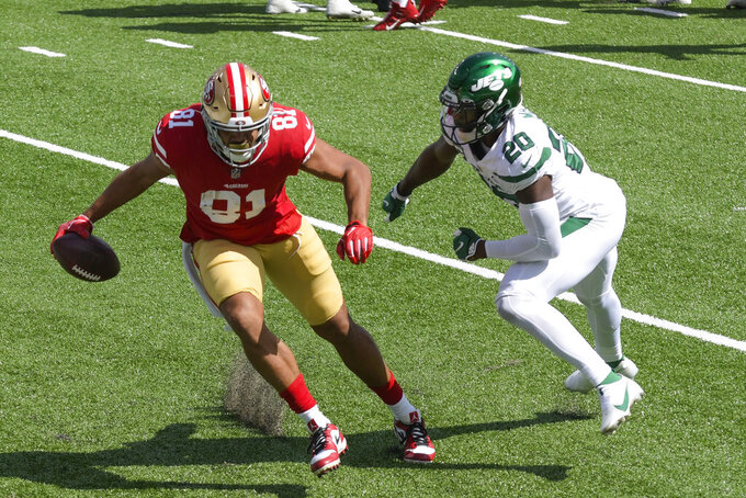 San Francisco 49ers' Jordan Reed (81) breaks away from New York Jets' Marcus Maye (20) for a touchdown during the first half of an NFL football game Sunday, Sept. 20, 2020, in East Rutherford, N.J. (AP Photo/Bill Kostroun)