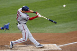 Washington Nationals' Trea Turner (7) hits a two-run home run off New York Mets starting pitcher Steven Matz during the third inning of a baseball game Monday, Aug. 10, 2020, in New York. (AP Photo/Kathy Willens)