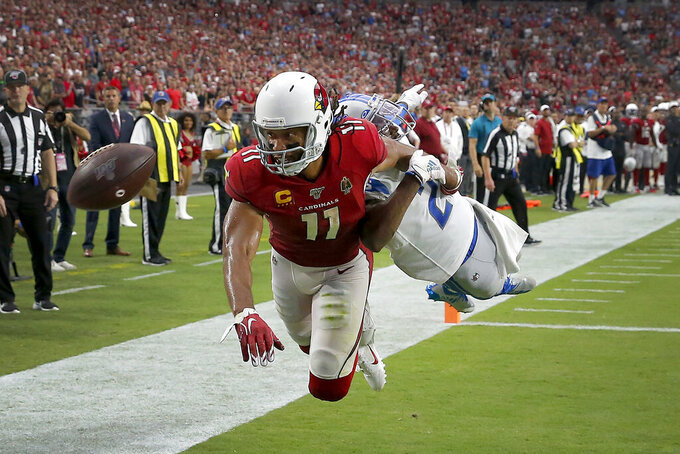 Arizona Cardinals wide receiver Larry Fitzgerald (11) can't make the catch in the end zone as Detroit Lions cornerback Justin Coleman defends during overtime of an NFL football game, Sunday, Sept. 8, 2019, in Glendale, Ariz. The Lions and Cardinals played to a 27-27 tie in overtime. (AP Photo/Rick Scuteri)