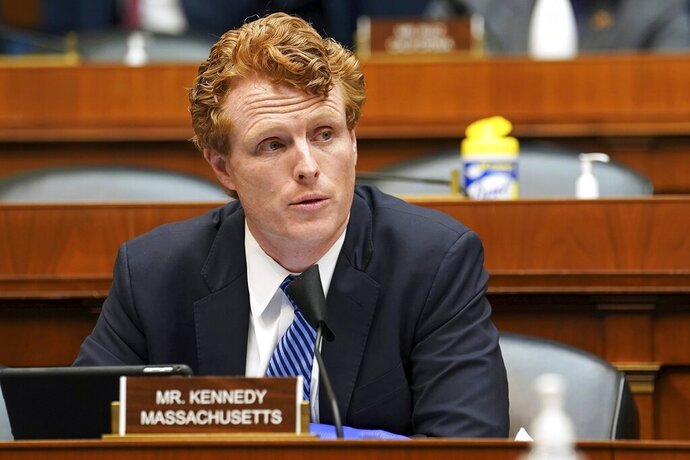 FILE - In this May 14, 2020, file photo, Rep. Joe Kennedy III, D-Mass., asks questions during a House Energy and Commerce Subcommittee on Health hearing on Capitol Hill in Washington. Ten candidates are vying to represent Massachusetts' 4th Congressional District that Kennedy is vacating as he seeks a seat in the Senate. (Greg Nash/Pool via AP, File)