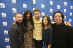 In this May 3, 2019, photo, from left to right, Aaron Ruell (Kip), Shondrella Avery (LaFawnduh), Jon Heder (Napoleon Dynamite), Emily Dunn (Trisha) and Efren Ramirez (Pedro) pose during a photo-op as they celebrate the 15th anniversary of the cult classic comedy