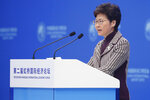 Hong Kong Chief Executive is Carrie Lam delivers a speech at the second Hongqiao International Economic Forum of the 2nd China International Import Expo at the National Exhibition and Convention Center in Shanghai, Tuesday, Nov. 5, 2019. The Expo is held in Shanghai from Nov. 5-10, 2019. (Wu Hong/Pool Photo via AP)