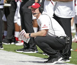 Nebraska head coach Scott Frost follows the second half of an NCAA college football game against Troy in Lincoln, Neb., Saturday, Sept. 15, 2018. Troy won 24-19. (AP Photo/Nati Harnik)
