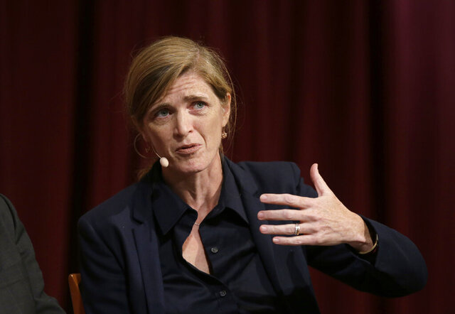 FILE - In this Oct. 16, 2017 file photo, Harvard professor Samantha Power, former U.S. Ambassador to the United Nations, addresses an audience at a forum on the campus of Harvard University, in Cambridge, Mass. President-elect Joe Biden has selected Samantha Power, the U.S. ambassador to the United Nations under President Barack Obama, to run the U.S. Agency for International Development. (AP Photo/Steven Senne)