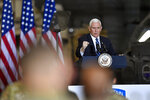 Vice President Mike Pence delivers remarks to Army 10th Mountain Division soldiers, many of whom have recently returned from Afghanistan, in Fort Drum, N.Y., Sunday, Jan. 17, 2021. (AP Photo/Adrian Kraus)