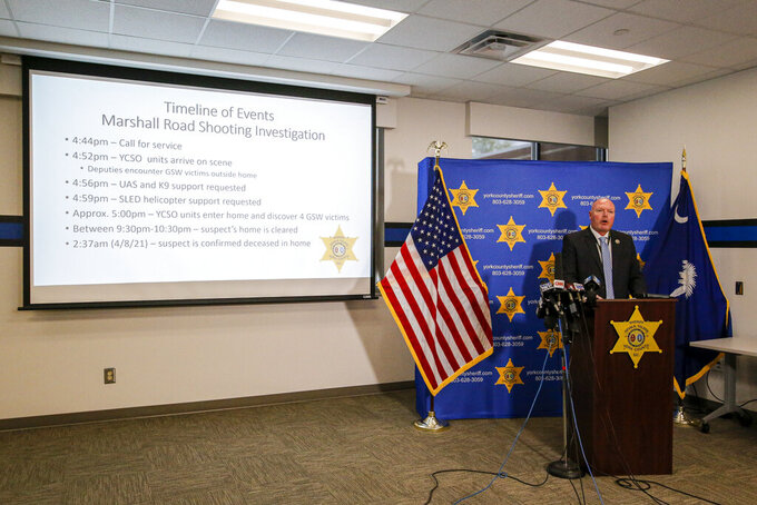 York County Sheriff Kevin Tolson speaks during a press conference on Thursday, April 8, 2021 in York, S.C. where he addressed the mass shooting by former NFL football player Phillip Adams. (AP Photo/Nell Redmond)