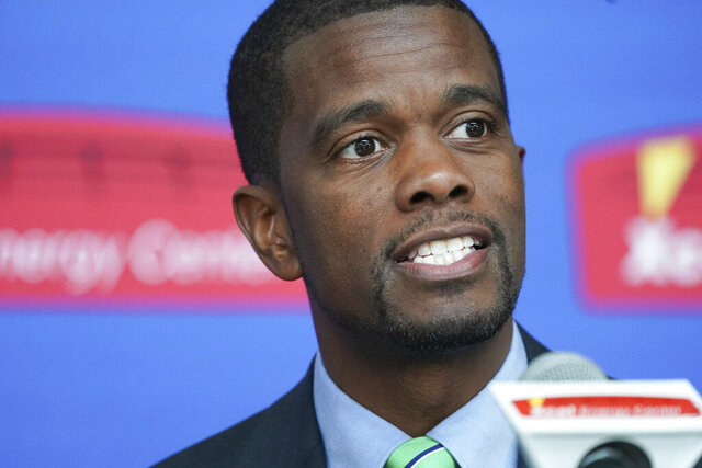 FILE - In this April 16, 2019, file photo, St. Paul Mayor Melvin Carter speaks in St. Paul, Minn. A pilot program proposed by Carter to guarantee $500 in monthly income to 150 low-income families affected by COVID-19 has hit a snag. The St. Paul City Council delayed a vote until at least next week after U.S. Rep. McCollum, a Democrat who represents the capital city, warned in a letter Wednesday, Sept. 9, 2020, that the proposal requires