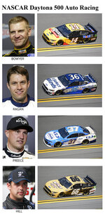 These photos show drivers in the starting lineup for Sunday's NASCAR Daytona 500 auto race in Daytona Beach, Fla. From top are Clint Bowyer, 29th position; David Ragan, 30th position; Ryan Preece, 31st position and Timmy Hill, 32nd position. (AP Photo)