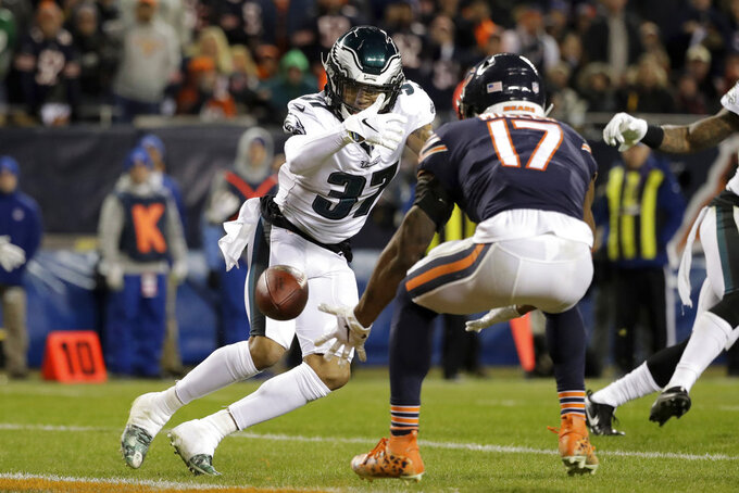 Chicago Bears wide receiver Anthony Miller (17) misses a catch under pressure from Philadelphia Eagles defensive back Tre Sullivan (37) during the first half of an NFL wild-card playoff football game Sunday, Jan. 6, 2019, in Chicago. (AP Photo/Nam Y. Huh)