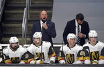 Vegas Golden Knights coach Peter DeBoer argues a call during the second period of the team's NHL hockey game against the Los Angeles Kings on Friday, March 19, 2021, in Los Angeles. (AP Photo/Marcio Jose Sanchez)