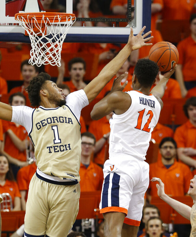 Jerome, Hunter lead No. 2 Virginia's rout of Ga. Tech, 81-51