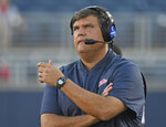 Mississippi head coach Matt Luke watches on during the second half of an NCAA college football game against Louisiana Monroe in Oxford, Miss., Saturday, Oct. 6, 2018. Mississippi won 70-21. (AP Photo/Thomas Graning)