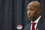 Chauncey Billups talks to media after being announced as the head coach of the Portland Trail Blazers at the team's practice facility in Tualatin, Ore., Tuesday, June 29, 2021. (AP Photo/Craig Mitchelldyer)