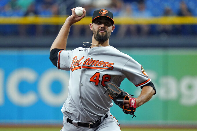 Baltimore Orioles' Jorge Lopez pitches to the Tampa Bay Rays during the first inning of a baseball game Thursday, Aug. 19, 2021, in St. Petersburg, Fla. (AP Photo/Chris O'Meara)