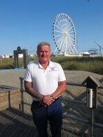 Republican Mayoral candidate Tom Forkin poses on the Boardwalk, Thursday, Oct. 1, 2020, in Atlantic City, N.J. The East Coast gambling resort will have its third election of the year in November, this one to select a mayor to serve all of 2021. (AP Photo/Wayne Parry)