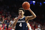 Gonzaga guard Ryan Woolridge reacts after the team defeated Arizona 84-80 in an NCAA college basketball game, Saturday, Dec. 14, 2019, in Tucson, Ariz. (AP Photo/Rick Scuteri)