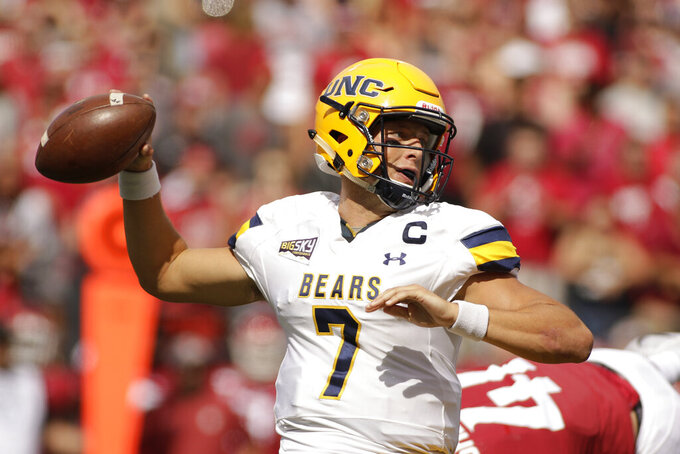 Northern Colorado quarterback Jacob Knipp (7) looks to throw a pass during the first half of an NCAA college football game against Washington State in Pullman, Wash., Saturday, Sept. 7, 2019. (AP Photo/Young Kwak)