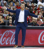 Ohio State head coach Chris Holtmann instructs his team against Stetson during the first half of an NCAA college basketball game Monday, Nov. 18, 2019, in Columbus, Ohio. (AP Photo/Jay LaPrete)