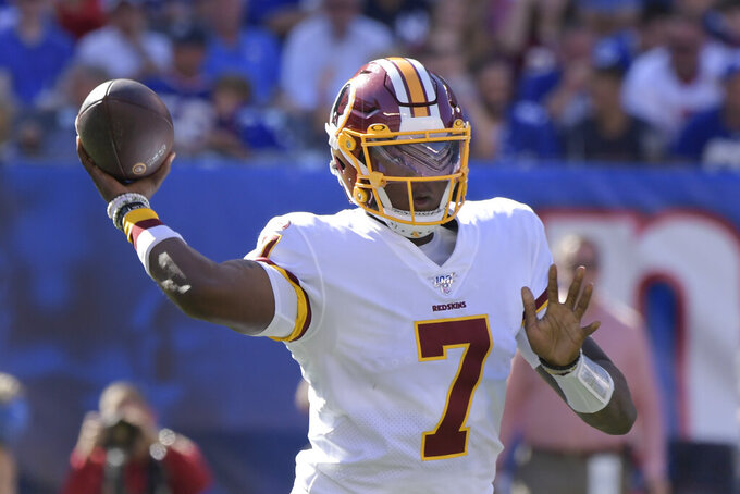 Washington Redskins quarterback Dwayne Haskins throws during the second half of an NFL football game against the New York Giants, Sunday, Sept. 29, 2019, in East Rutherford, N.J. (AP Photo/Bill Kostroun)