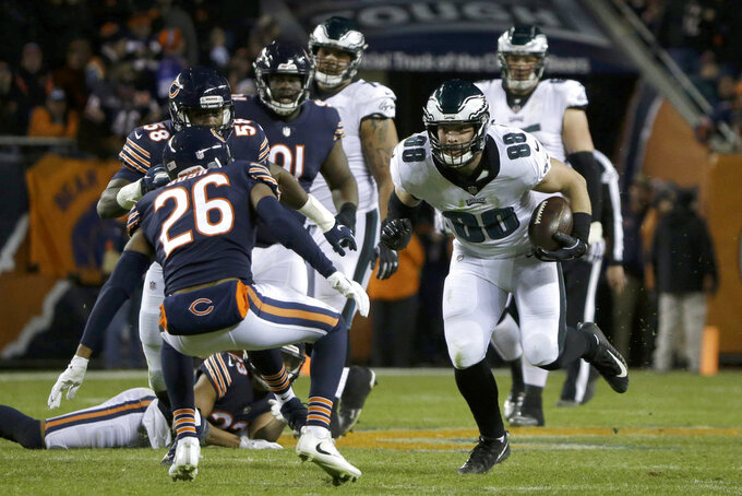 Philadelphia Eagles tight end Dallas Goedert (88) runs after catching a pass during the second half of an NFL wild-card playoff football game against the Chicago Bears Sunday, Jan. 6, 2019, in Chicago. (AP Photo/David Banks)