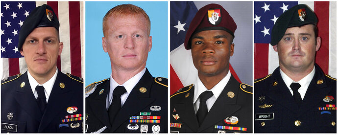 FILE - These images provided by the U.S. Army show, from left, Staff Sgt. Bryan C. Black, 35, of Puyallup, Wash.; Staff Sgt. Jeremiah W. Johnson, 39, of Springboro, Ohio; Sgt. La David Johnson of Miami Gardens, Fla.; and Staff Sgt. Dustin M. Wright, 29, of Lyons, Ga. All four were killed in Niger, when a joint patrol of American and Niger forces was ambushed on Oct. 4, 2017,  by militants believed linked to the Islamic State group.  The Mauritanian Nouakchott News Agency reported Friday, Jan. 12, 2018 that Abu al-Walid al-Sahrawi with the self-professed IS affiliate claimed responsibility for the Oct. 4 ambush about 120 miles (200 kilometers) north of Niger's capital, Niamey.  (U.S. Army via AP)