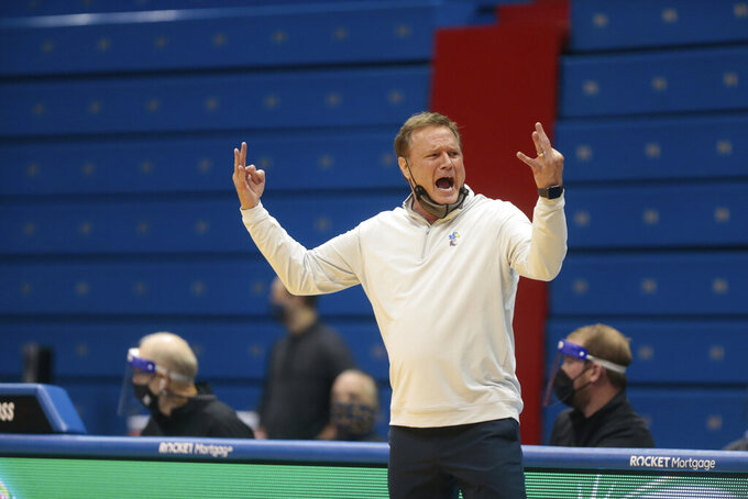 Kansas coach Bill Self reacts to a call in the first half of an NCAA college basketball game against West Virginia, Tuesday, Dec. 22, 2020, in Lawrence, Kan. (Evert Nelson/The Topeka Capital-Journal via AP)
