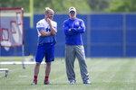 Buffalo Bills head coach Sean McDermott speaks with Buffalo Bills wide receiver Cole Beasley (11) during NFL football practice Tuesday, May 25, 2021, in Buffalo, N.Y. (AP Photo/Joshua Bessex)