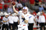 SMU quarterback Shane Buechele (7) passes the ball against Houston during the first half of an NCAA college football game Thursday, Oct. 24, 2019, in Houston. (AP Photo/Michael Wyke)