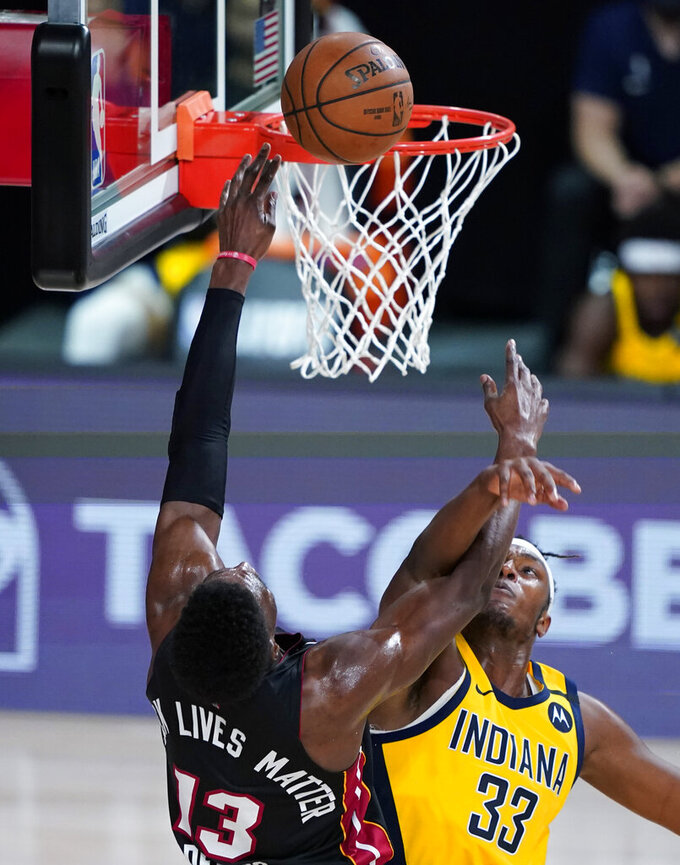 during the second half of an NBA basketball first round playoff game, Tuesday, Aug. 18, 2020, in Lake Buena Vista, Fla. (AP Photo/Ashley Landis, Pool)