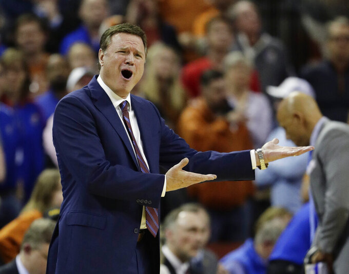 Kansas coach Bill Self reacts to a play during the second half on the team's NCAA college basketball game against Texas in Austin, Texas, Tuesday, Jan. 29, 2019. Texas won 73-63. (AP Photo/Eric Gay)