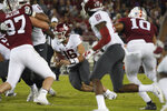 Washington State quarterback Gardner Minshew II (16) scrambles in the second half against Stanford during an NCAA college football game on Saturday, Oct. 27, 2018, in Stanford, Calif. (AP Photo/Don Feria)