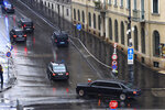 A convoy transporting Russian President Vladimir Putin arrives in central Budapest, Hungary, Wednesday, Oct. 30, 2019. Putin is on an official visit to Hungary. (Lajos Soos/MTI via AP)