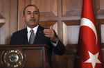 Turkey's Foreign Minister Mevlut Cavusoglu speaks during a joint news conference with El Salvador's Foreign Minister Alexandra Hill, in Ankara, Turkey, Tuesday, Aug. 20, 2019. Cavusoglu warned Syria's government against