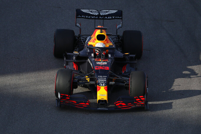 Red Bull driver Max Verstappen of the Netherlands steers his car during the second practice session for the upcoming Russian Formula One Grand Prix, at the Sochi Autodrom circuit, in Sochi, Russia, Friday, Sept. 25, 2020. The Russian Formula One Grand Prix will take place on Sunday. (Yuri Kochetkov/Pool Photo via AP)