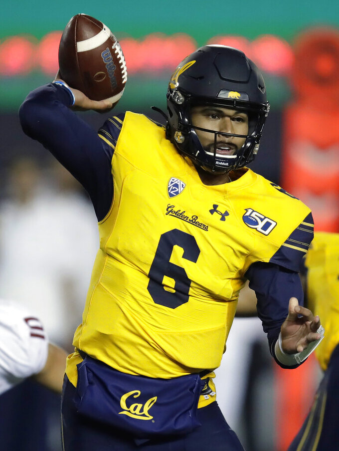 California quarterback Devon Modster passes against Washington State in the second half of an NCAA college football game Saturday, Nov. 9, 2019, in Berkeley, Calif. (AP Photo/Ben Margot)
