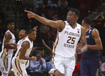 Florida State forward Mfiondu Kabengele (25) reacts in the final seconds of an NCAA college basketball game against Notre Dame in Tallahassee, Fla., Monday, Feb. 25, 2019. Florida State won 68-61. (AP Photo/Phil Sears)