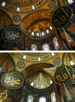 In this combo of photos, a gold-coloured mosaic, top, that depicts The Virgin Mary and Jesus is seen inside the Byzantine-era Hagia Sophia, in the historic Sultanahmet district of Istanbul, Friday, Oct. 15, 2010, while on the bottom photo, the mosaic is covered with sail-like drapes, following the inaugural Friday prayers, Friday, July 24, 2020. Mosaics depicting Christian figures were covered, in line with Islamic traditions that bar the depiction of figures. Worshipers held the first Muslim prayers in 86 years inside the Istanbul landmark that served as one of Christendom's most significant cathedrals, a mosque and a museum before its conversion back into a Muslim place of worship.  (AP Photo/Emrah Gurel/Yasin Akgul)