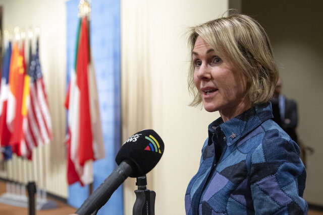 This photo provided by the United Nations shows United States U.N. Ambassador Kelly Craft, current President of the U.N. Security Council, during a press briefing on Monday Dec. 2, 2019, at U.N. headquarters. (Eskinder Debebe/United Nations via AP)