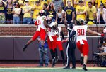 Maryland's Ty Johnson (24) celebrates his 98-yard touchdown return against Michigan in the first half of an NCAA football game in Ann Arbor, Mich., Saturday, Oct. 6, 2018. (AP Photo/Paul Sancya)