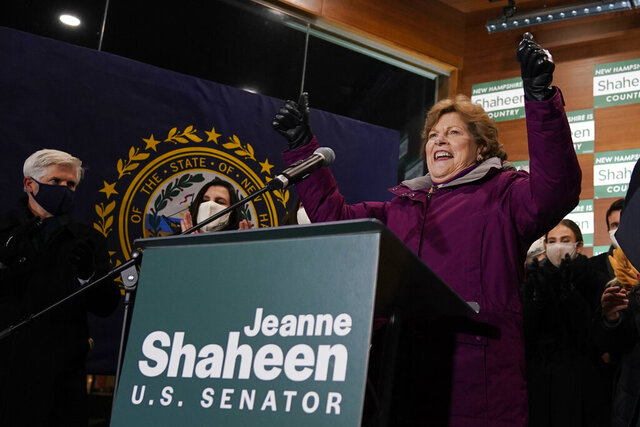 Incumbent U.S. Sen. Jeanne Shaheen, D-N.H., raises her arms after claiming victory at a gathering with supporters, Tuesday, Nov. 3, 2020, in Manchester, N.H. Shaheen faced Republican businessman Corky Messner. (AP Photo/Charles Krupa)