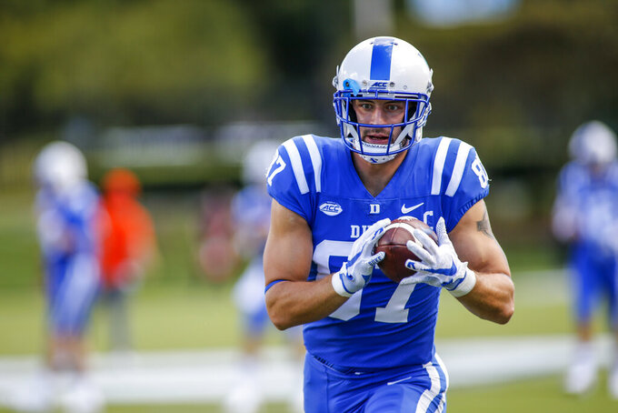 Duke tight end Noah Gray (87) makes a catch during warm-ups before playing against Virginia Tech in an NCAA college football game, Saturday, Oct. 3, 2020, in Durham, N.C.  (Nell Redmond/Pool Photo via AP)